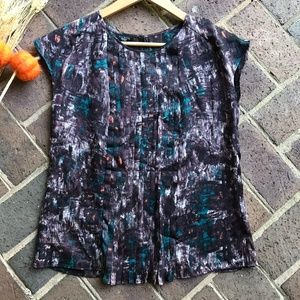 Talbots Abstract Print Accordion Pleat Top